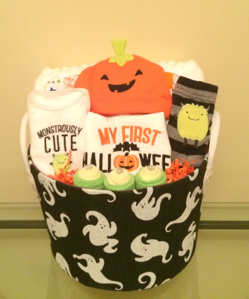 Halloween Baby Boy Gift Basket | Lavish Baby Baskets Diaper Cakes