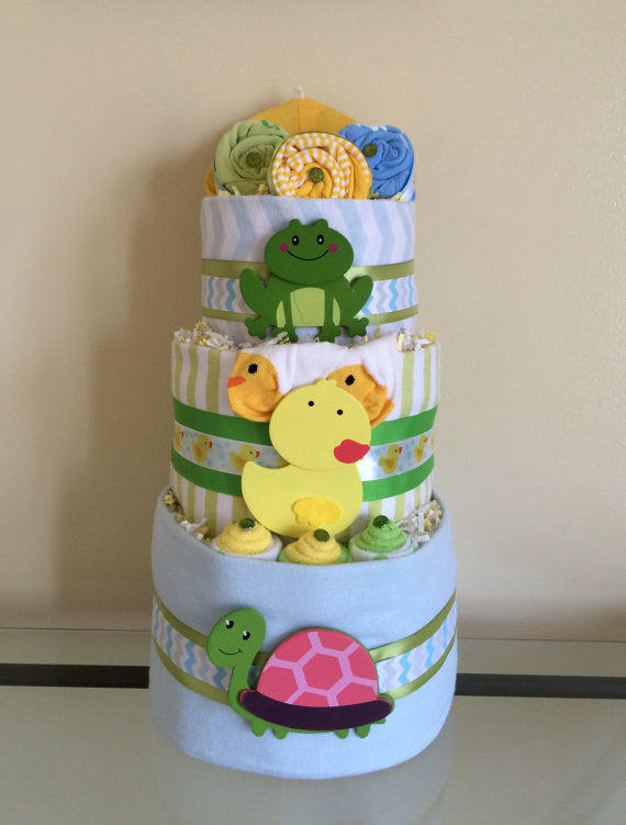 Leaping Frogs and Baby Ducks Diaper Cake