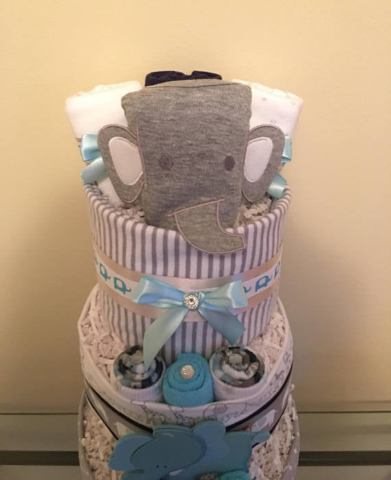 Jungle Elephants Baby Boy Diaper Cake