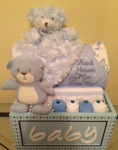 Thank Heavens for Little Boys Teddy Bear Gift Basket