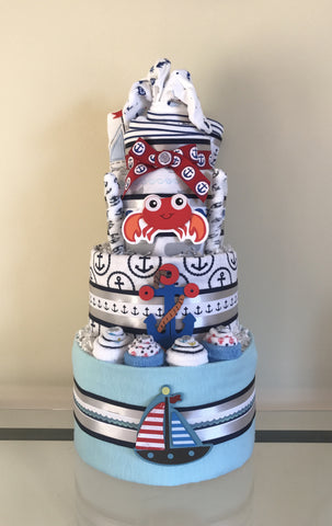 Sand and Ocean Baby Boy Diaper Cake