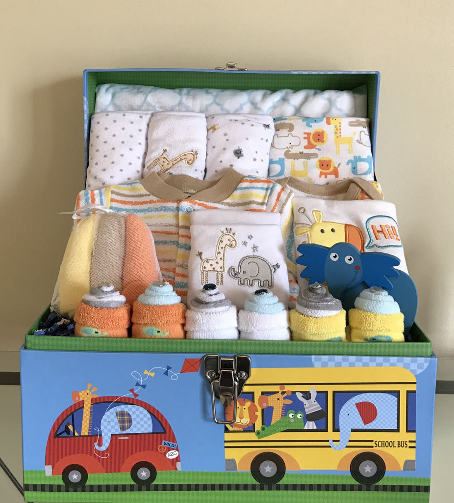 Elephants and Jungle Friends Baby Boy Gift Basket