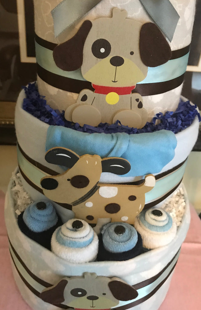Puppy Dog Baby Boy Diaper Cake
