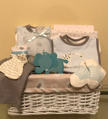 Giraffe and Pals Baby Boy Gift Basket