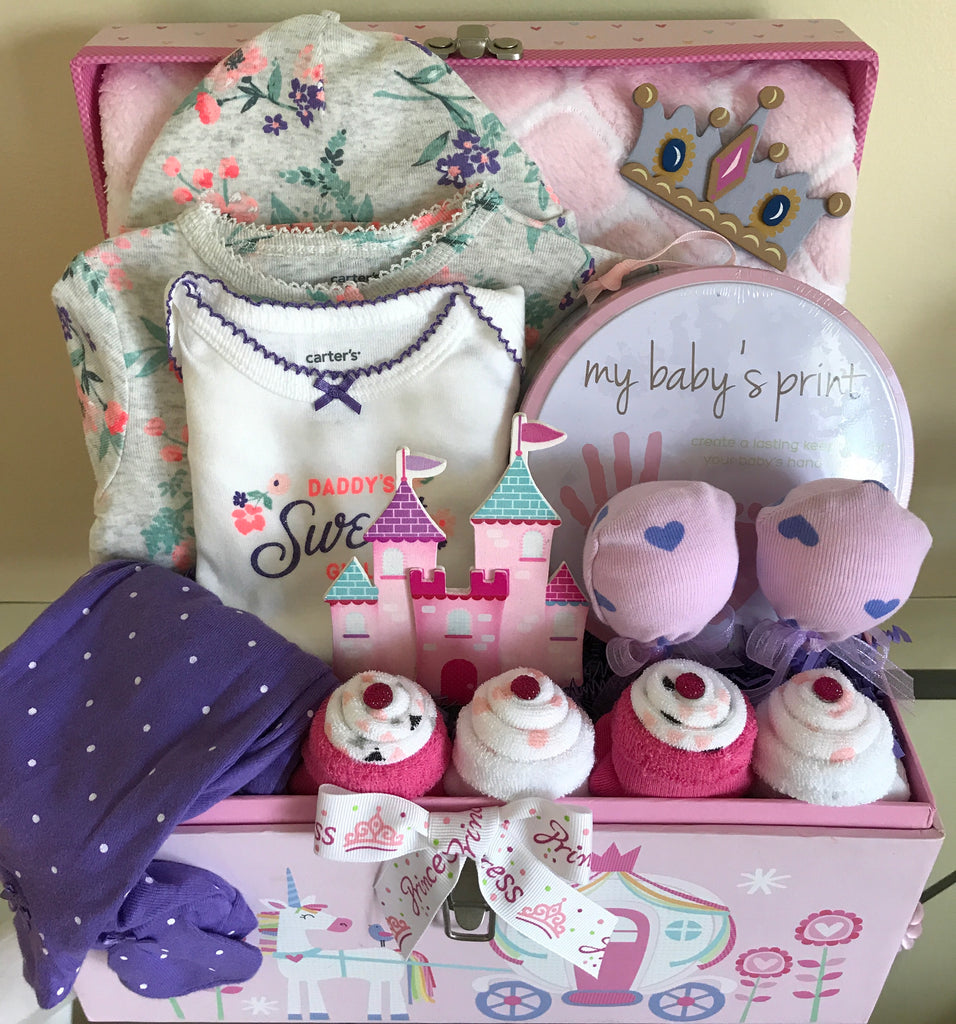 Royal Pink Princess Baby Girl Gift Basket