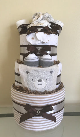 Cuddly Teddy Bear Baby Boy Diaper Cake