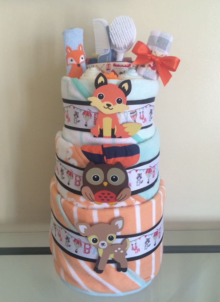 Woodland Critters Baby Boy Diaper Cake