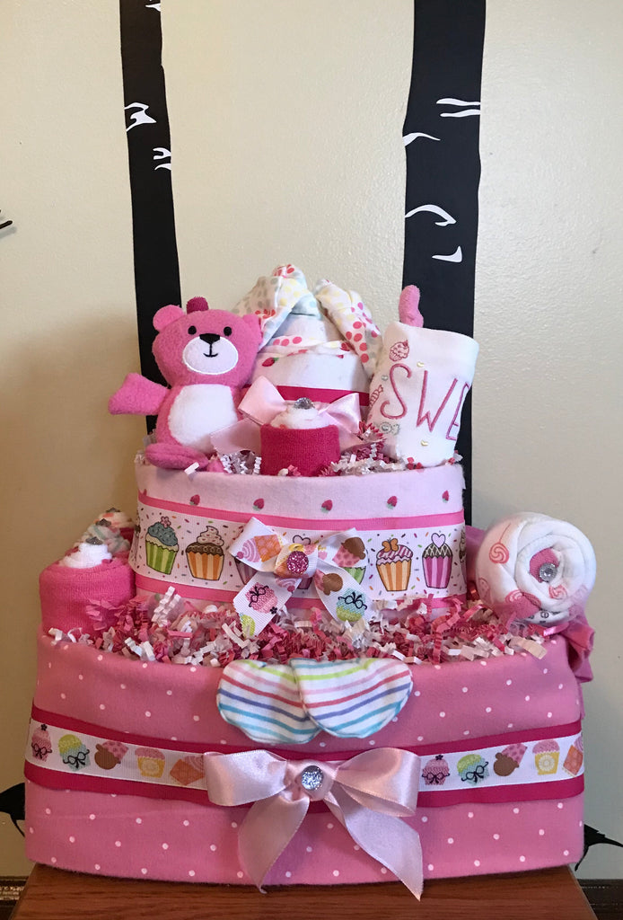 Sweet Treats and Cupcakes Baby Girl Diaper Cake