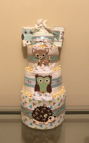 Fox and Woodland Animals Baby Boy Diaper Cake