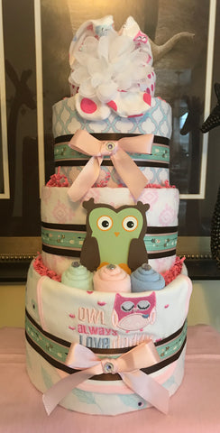 Owl and Friends Baby Girl Diaper Cake