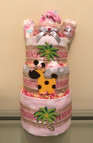 Pink Giraffe Jungle Baby Girl Diaper Cake