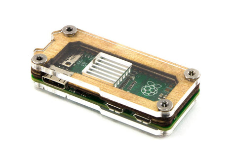 Zebra Zero Heatsink Wood Case for Raspberry Pi Zero 1.3 and Zero Wireless