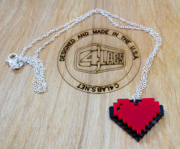 "8bit Heart Charm on 18"" Silver Chain Necklace ~ by C4Labs"