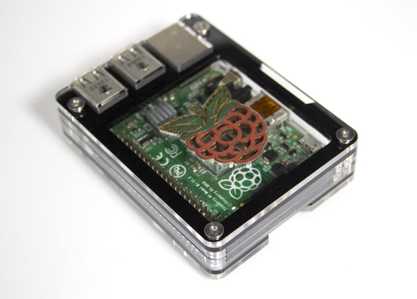 Zebra Black Ice or Wood with Raspberry Inlay, Solid Top ~ for Raspberry Pi 3, Pi 2