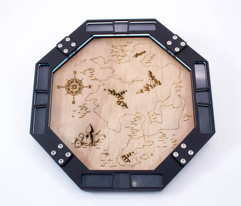 Cartographer Dice Tray ~ Wood Laser Etched Map Design for Gaming