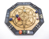 Dice Tray, Wooden Laser Etched Compass Design, Gaming