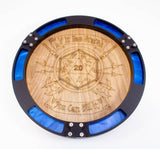 LIMITED EDITION Dice Tray Critical Success Pearlescent Blue, Gold or Green with Engraved Wood