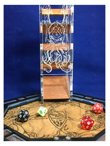 Cthulhu Etched Dice Tower with Upgrade Tray Option