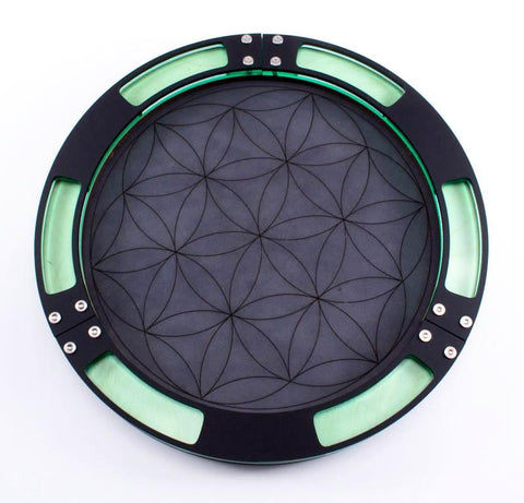 Flower of Life Dice Tray With Genuine Leather Rolling Surface