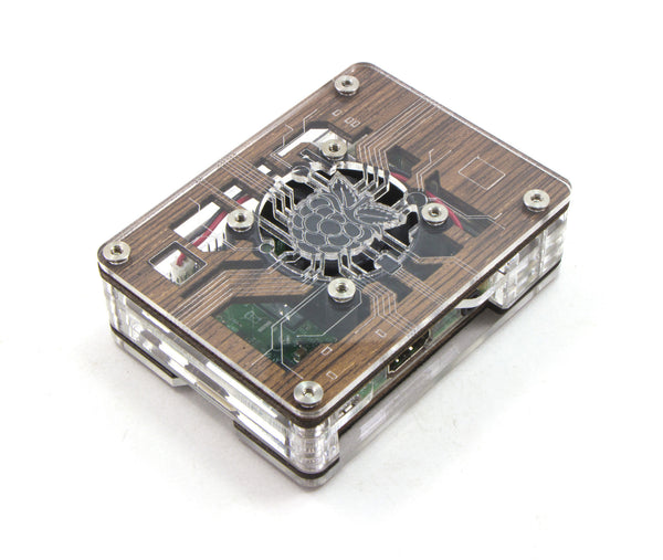 Zebra Virtue - Wood with Clear Acrylic - for Raspberry Pi 3, Pi 2 and Pi B+ (with fan)