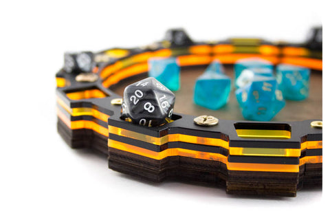 Sprocket Dice Tray ~ Sunburst Orange and Aqua Green