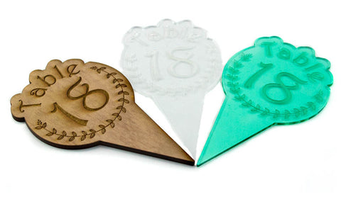 Table Markers in Laser-Cut Wood or Acrylic Numbers ~ Great for Weddings, Graduation, Birthday, Fund Raisers, Anniversaries, Bat/Bar-Mitzvahs and More.