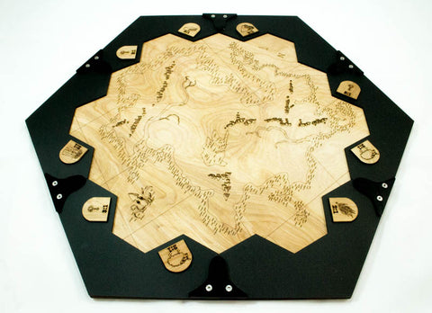 A table and frame for Settlers of Catan ~ The Unexplored Country