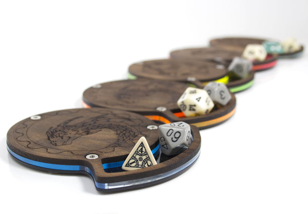 Solid Walnut-Top Dice Coasters, in 4 styles and 5 Colors!