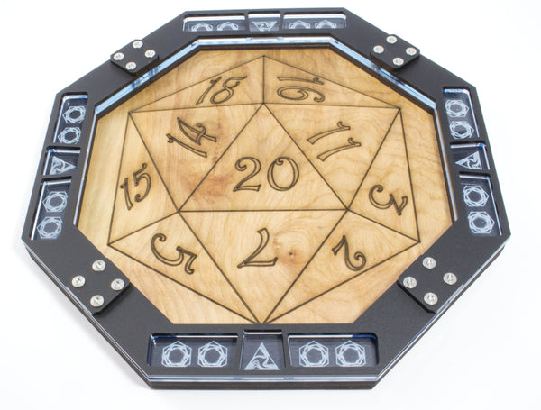 Dice Tray Wood Laser Etched  D20 Design, Gaming