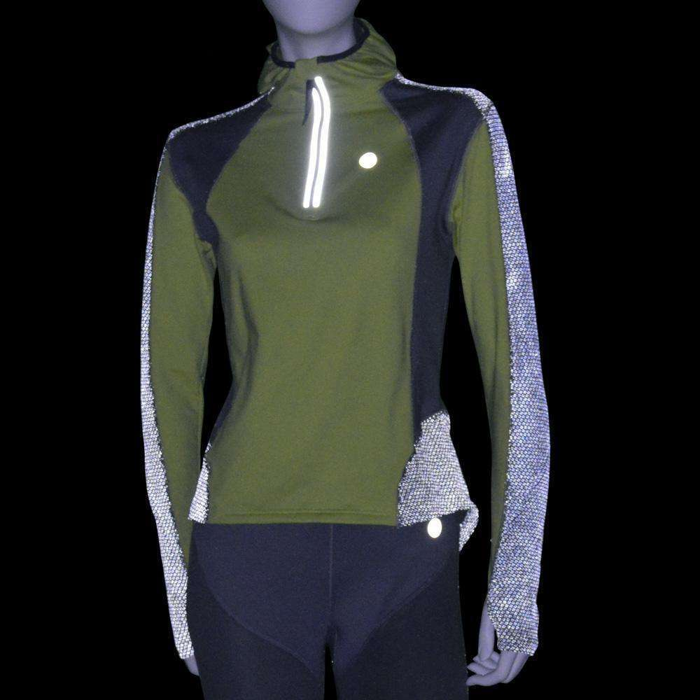 Ambition Reflective Women's Hoodie in Honeydew/Silver