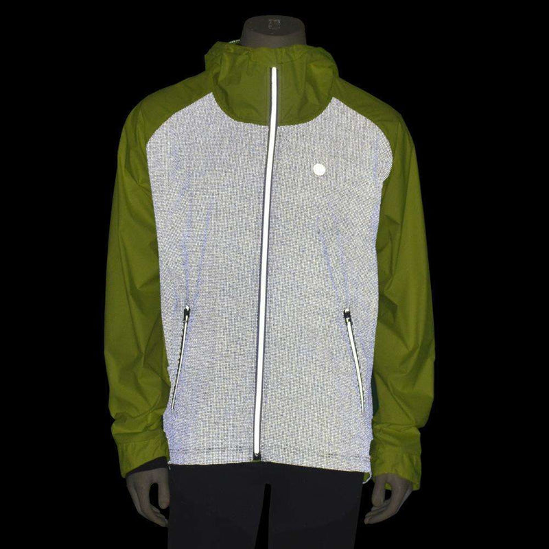Men's Full Zip Reflective Cycle Jersey in Flo Lime/Black