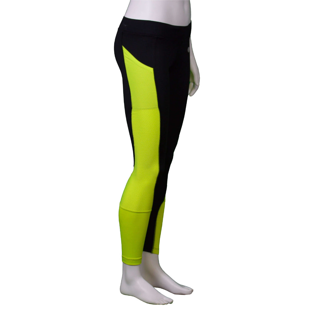 Comet Reflective Women's Running Tight in Black/Flo Lime