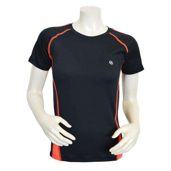 Dovetail Short Sleeve Women's Reflective Tee in Black/Coral Glo