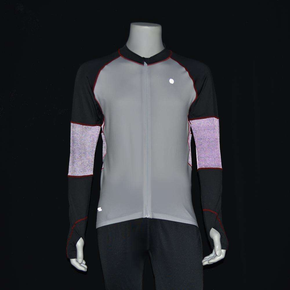 Full Zip Men's Running or Cycling Reflective Jersey in White/Graphite--CLEARANCE