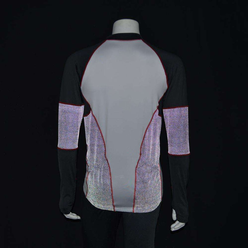 Full Zip Men's Running or Cycling Reflective Jersey in White/Graphite