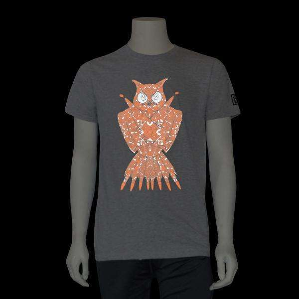 Graphic Tees! Reflective Owl on Grey--CLEARANCE