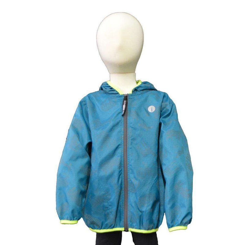 Kids BrightLITE Reflective Windbreaker in Green Animal