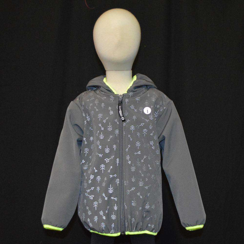 Kids Fleecy Softshell Reflective Jacket in Graphite