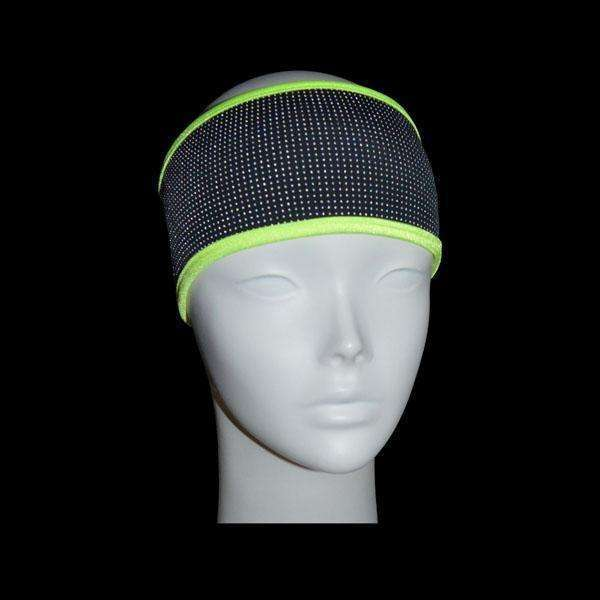 Kids Reflective PonyBand Headband in Black/Flo Lime