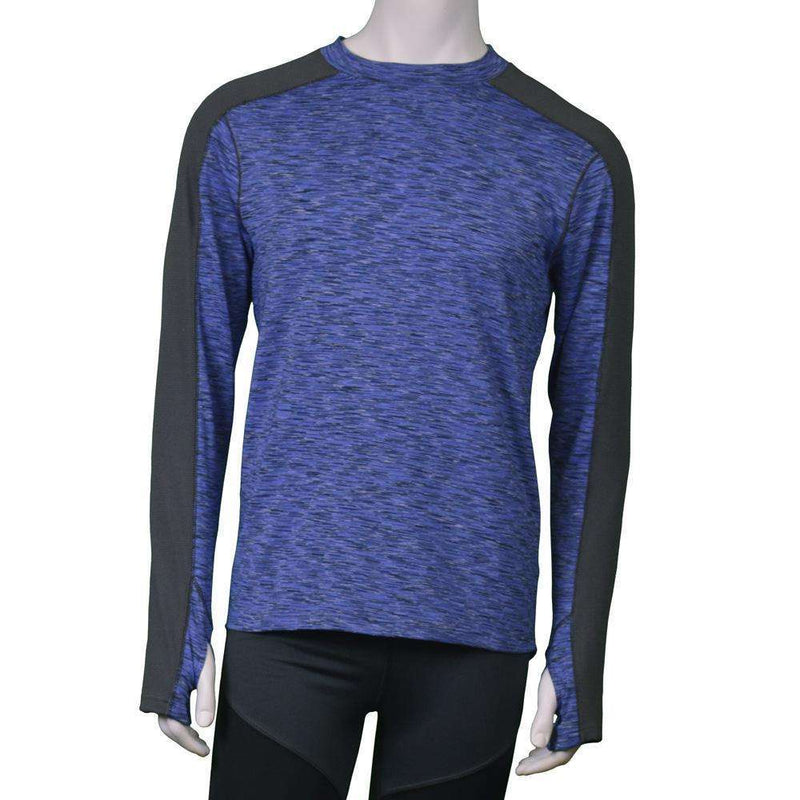 Long Sleeve Reflective Men's Warm Up Tee in Ocean Blue/Graphite