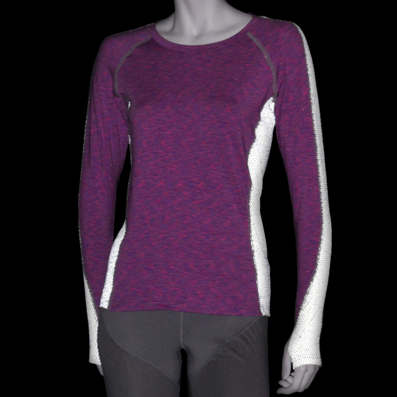 Long Sleeve Reflective Women's Piper Tee in Cosmo/White