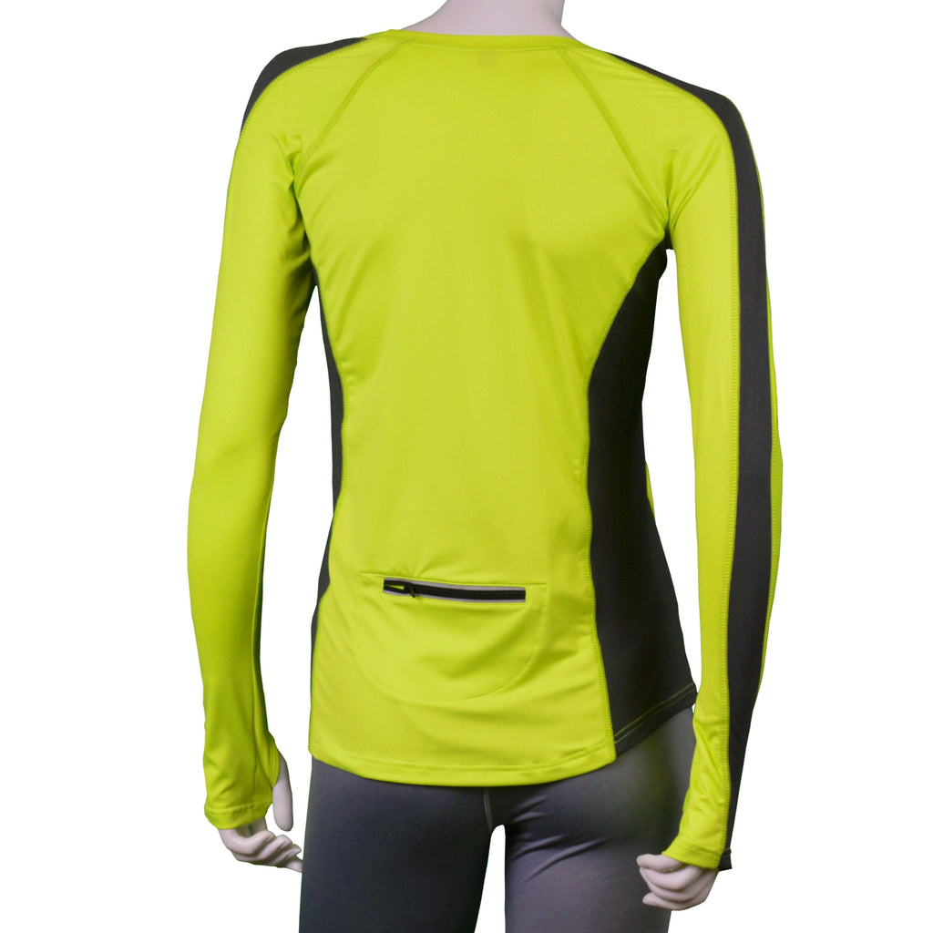 Long Sleeve Reflective Women's Piper Tee in Flo Lime/Graphite