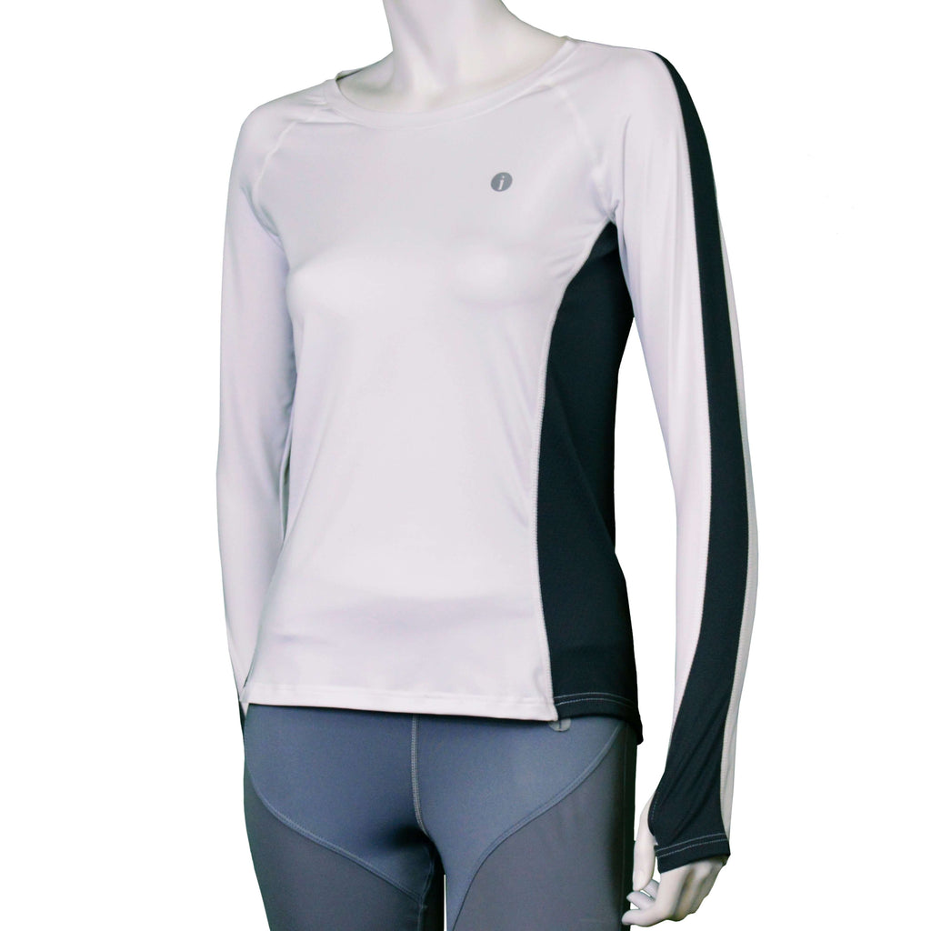 Long Sleeve Reflective Women's Piper Tee in White/Graphite