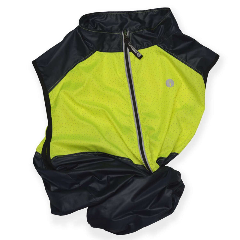 Packable Men's Reflective Vest in Navy / Flo Lime