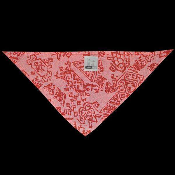 Reflective Dog Bandana in Red Geo