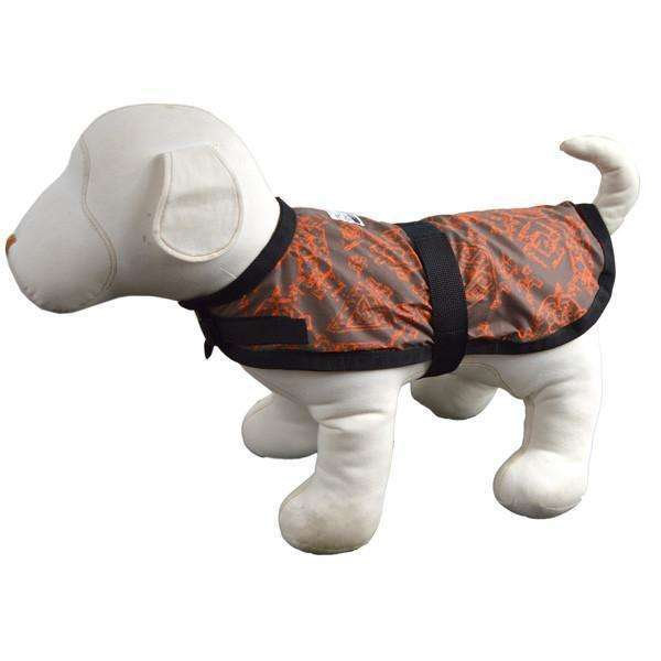 Reflective Dog Jacket in Orange/Geo