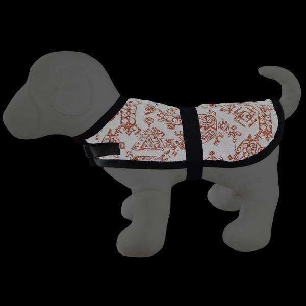 Reflective Dog Jacket in Orange/Geo--CLEARANCE