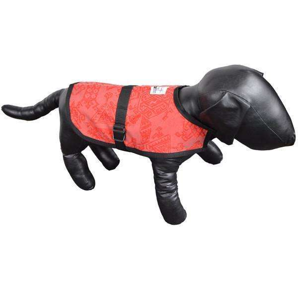 Reflective Dog Jacket in Red/Geo--CLEARANCE