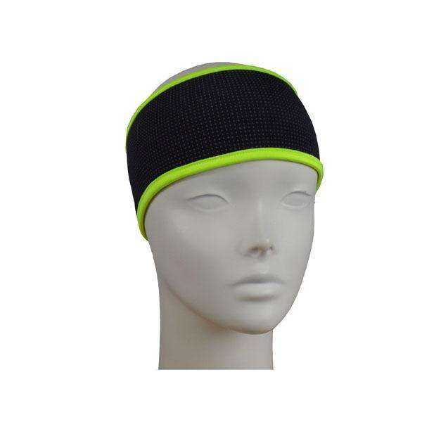 Reflective PonyBand Headband in Black/Flo Lime