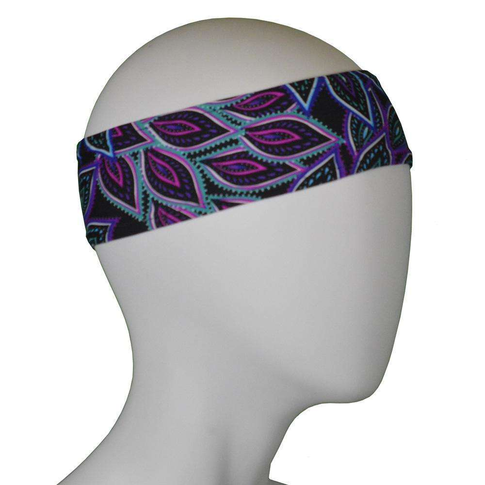 REVERSIBLE! Reflective Stretch Eclipse Headband in Feather/Black